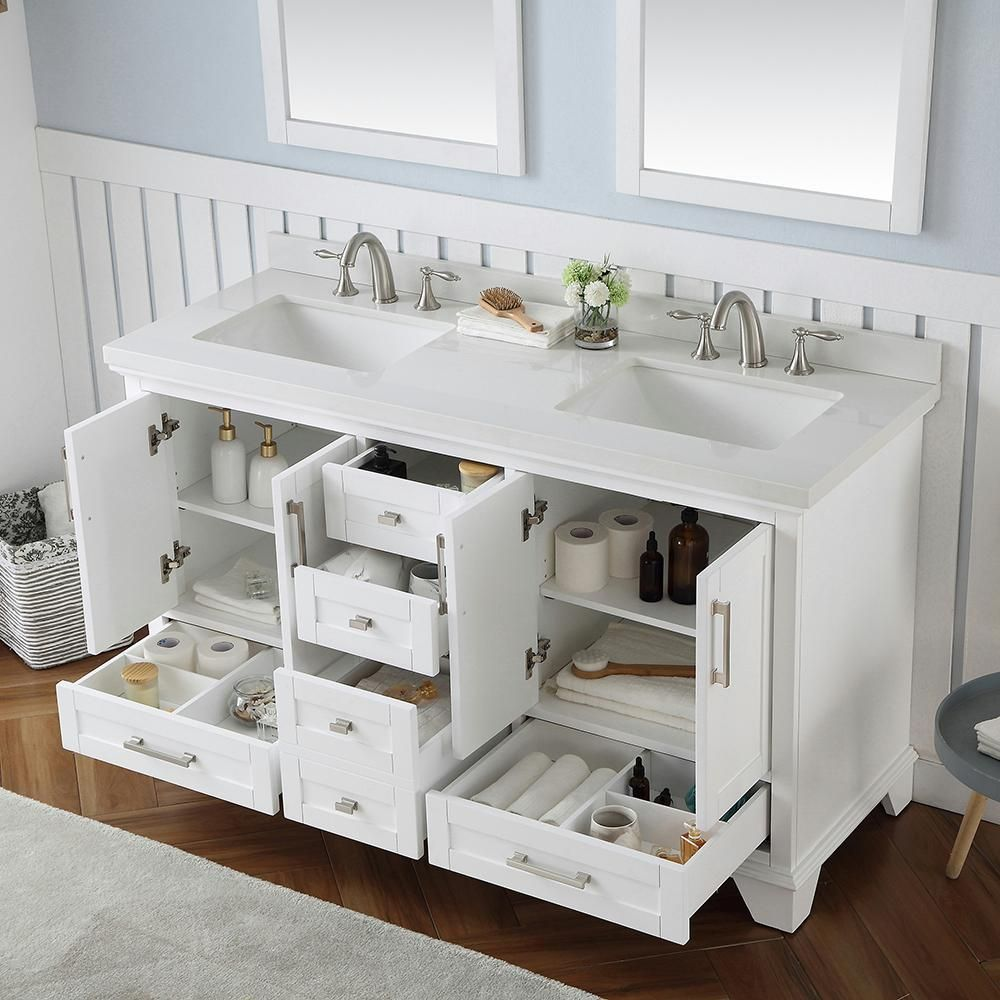 Home Decorators Collection Densbury 60 in. W x 22 in. D Bath Vanity in White with Cultured Stone Vanity Top in White with White Basins-Densbury 60W - The Home Depot