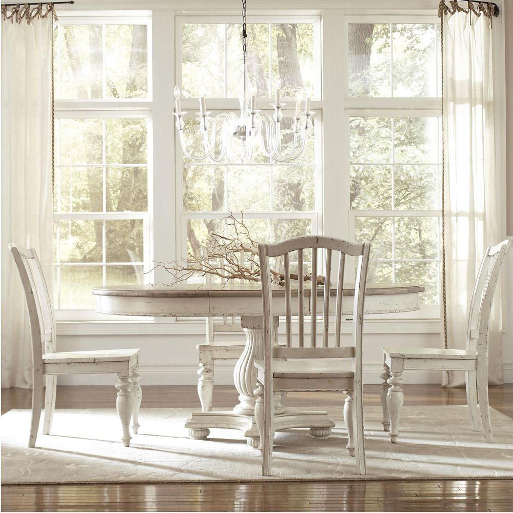 Coventry Round / Oval Dining Table & Wood Chairs Riverside | Solid Wooden Round Oval Pedestal Base Dining Leaf Table Side Chair Set
