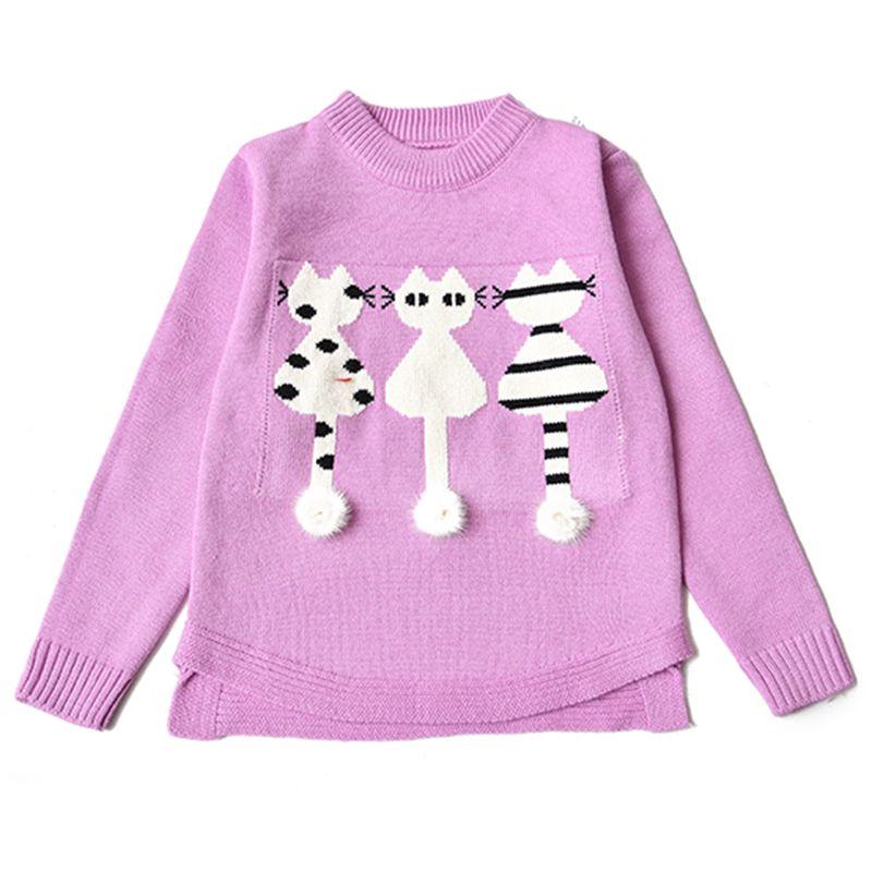 Encontrar Más Suéteres Información acerca de 2018 otoño invierno moda  mochilas escolares niñas niños suéter tejido jersey bordado gatito de la  historieta ... bb6d42fd4a62