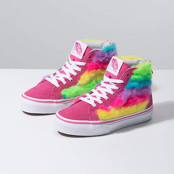 Kids Rainbow Fur Sk8-Hi Zip | Vans