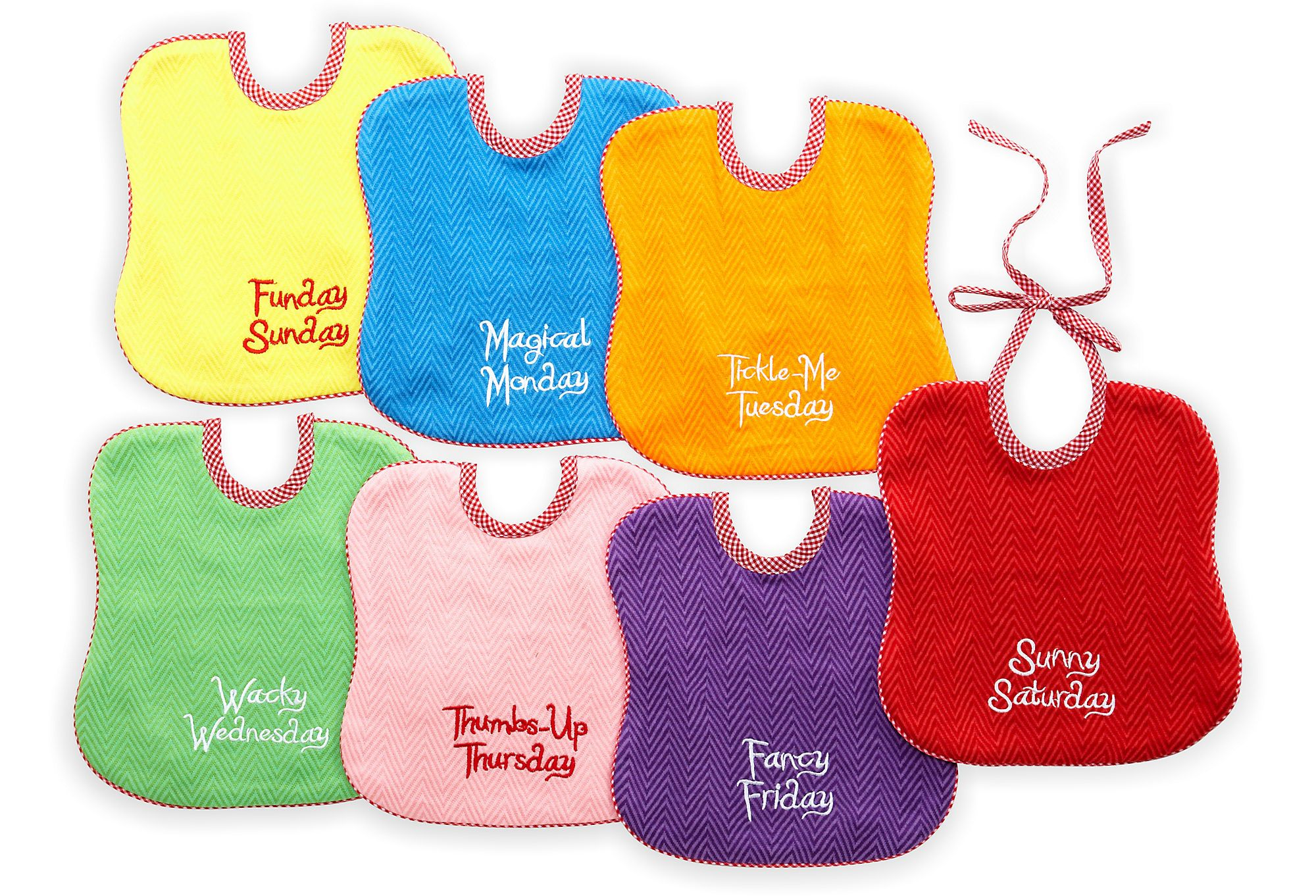 One Kings Lane - Baby's First... - Set of 7 Day-of-the-Week Bibs, Rainbow