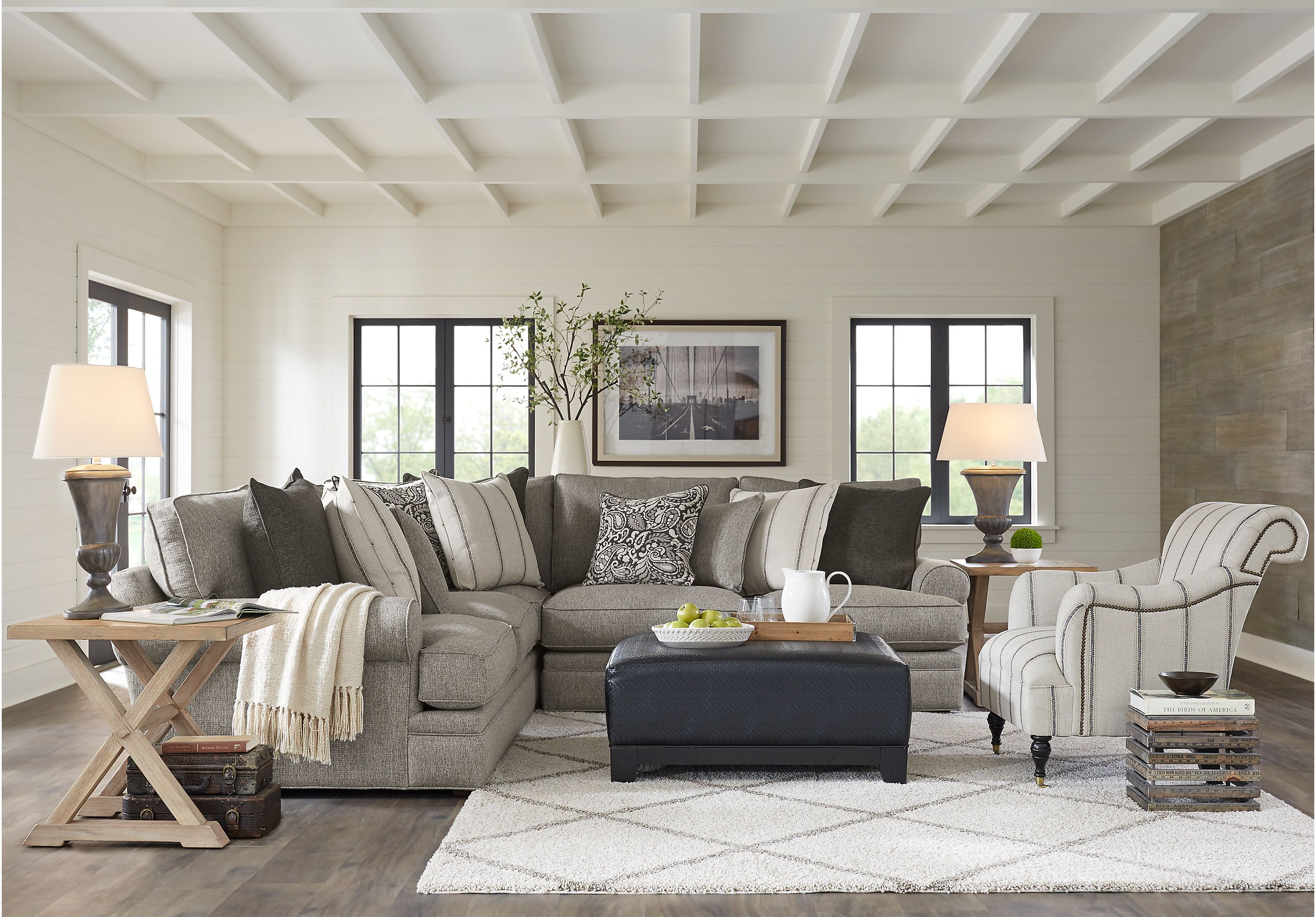 Best Cindy Crawford Home Lincoln Square Gray 4 Pc Sectional 400 x 300