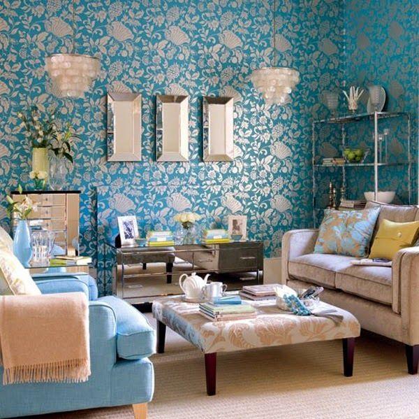 Décoration salon avec la combinaison marron et bleu ~ Décoration ...