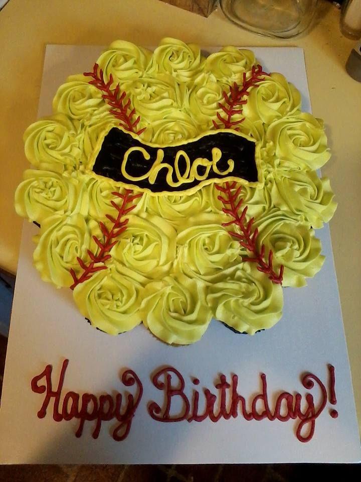 Pleasing Softball Cupcake Cake Softball Birthday Cakes Softball Cupcakes Personalised Birthday Cards Paralily Jamesorg