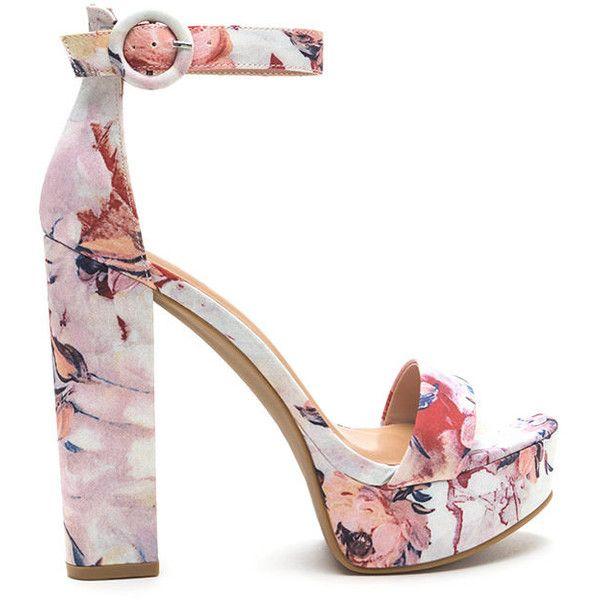 Tall-Star Chunky Floral Platform Heels
