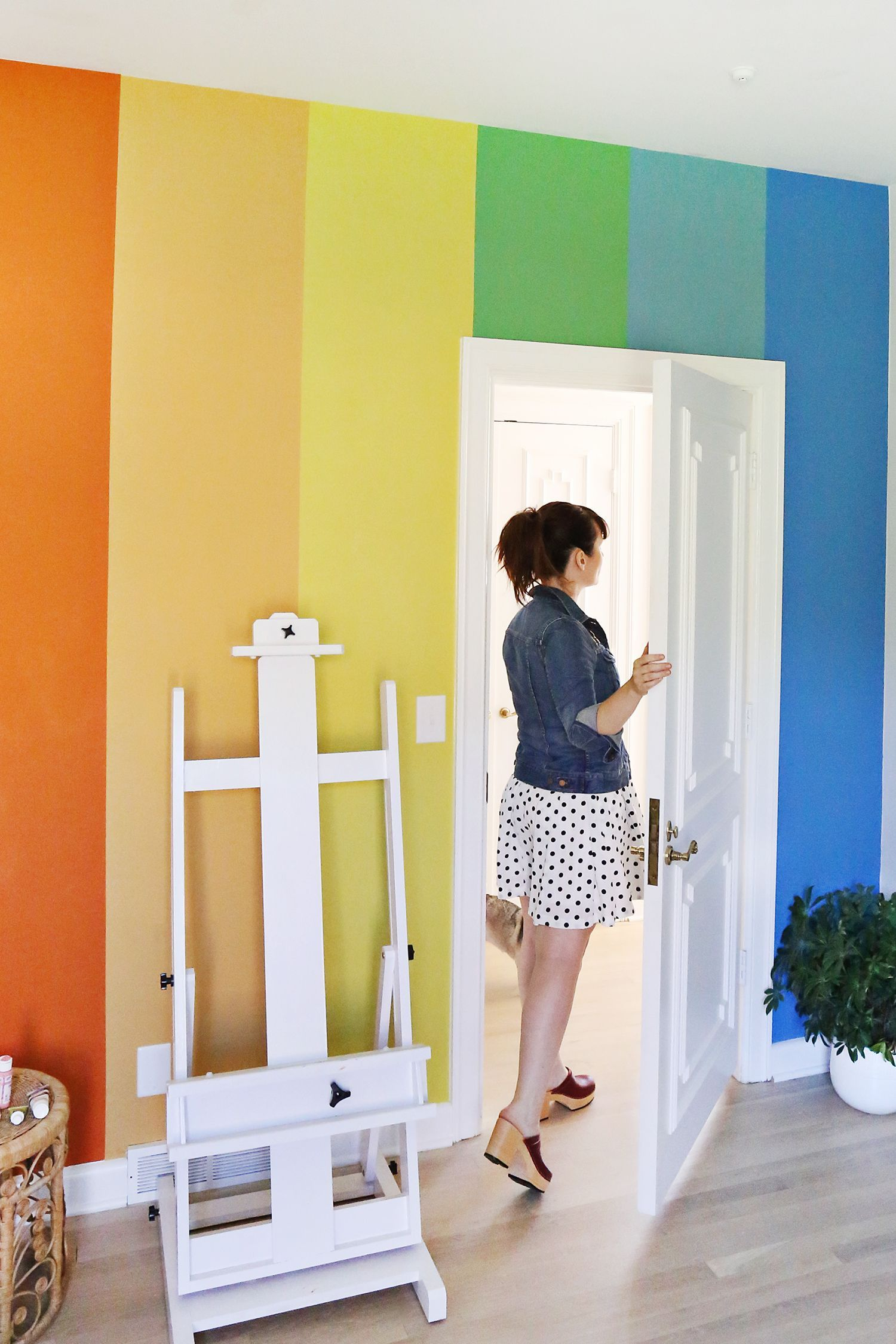 DIY Rainbow Accent Wall (A Beautiful Mess) | Striped accent walls ...