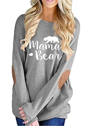 1b1de205e0a00c Women's Long Sleeve Crew Neck Mama Bear Elbow Patch T Shirt Top, maternity  top, mama bear pregnancy top, maternity fashion, #ad