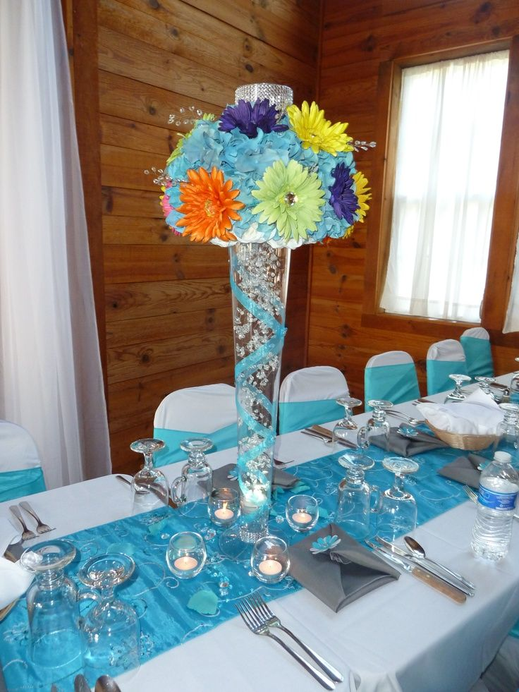 tiffany blue and black wedding decorations%0A Malibu Table Runners          Table Settings   Pinterest   Wedding   Weddings and Reception