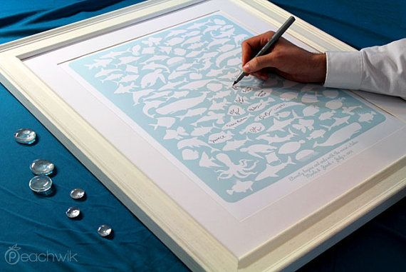 Unique Wedding Guest Book - The Beachwik - A Peachwik Interactive Art Print - 100 guest sign in - Sea, Beach & Ocean Weddings