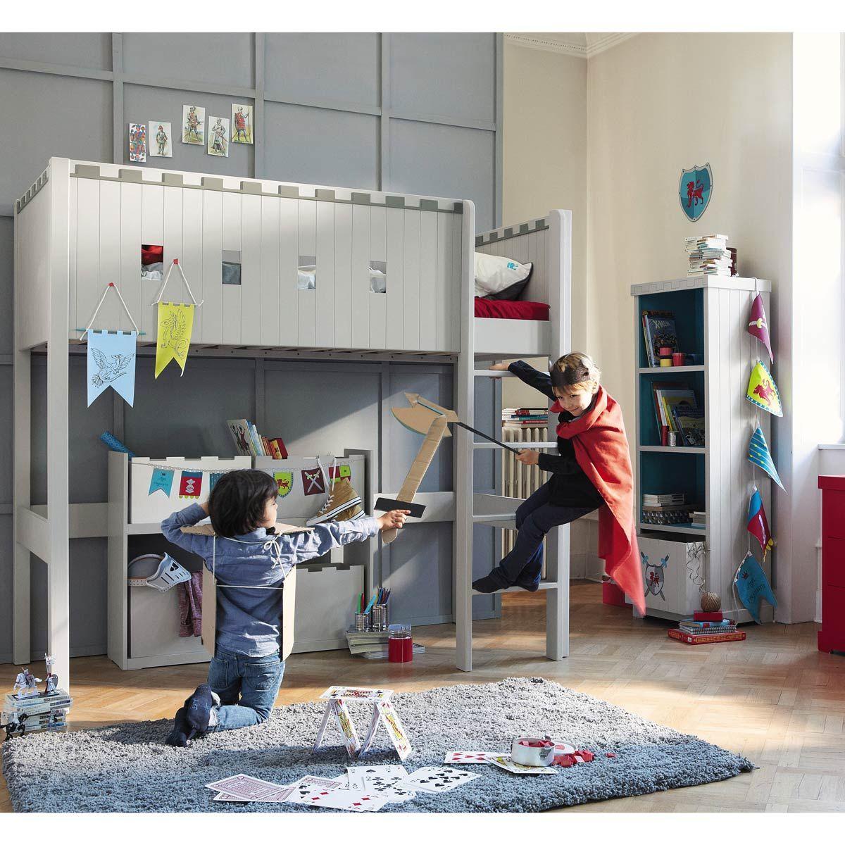 kinder hochbett grau chevalier maisonsdumonde. Black Bedroom Furniture Sets. Home Design Ideas
