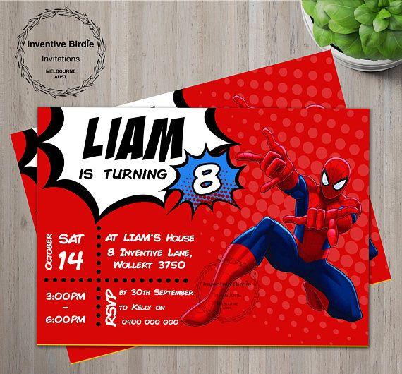 Spiderman Invitation Spiderman Birthday Invitation Spiderman
