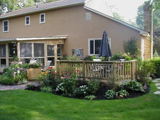 landscape ideas for around a patio | low to grade deck with ... - Landscaping Ideas Around Patio