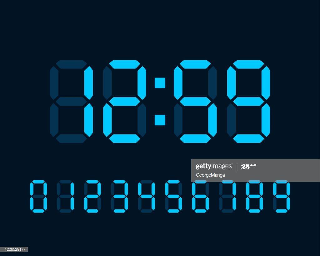 Blue Illuminated Digital Clock Numbers Showing Time On Black In 2020 Clock Numbers Clock Digital Clocks