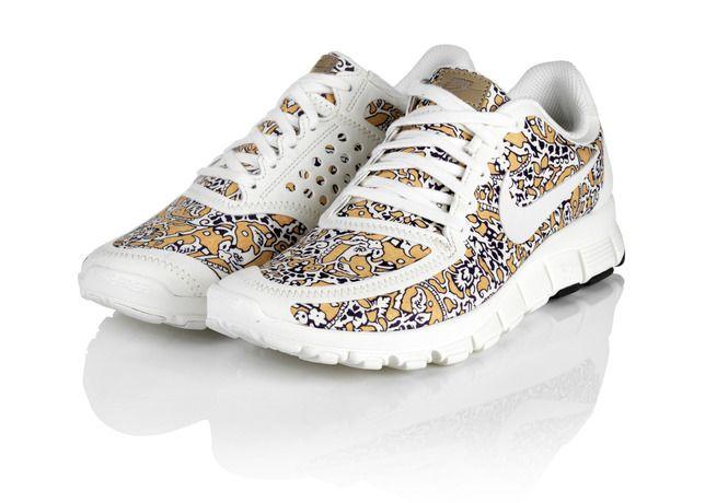 Nike Sportswear X Liberty London Free 5.0 in University Gold / Sail.