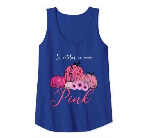 In October We Wear Pink Pumpkin Breast Cancer Halloween Tank Top Women #pinkpumpkins