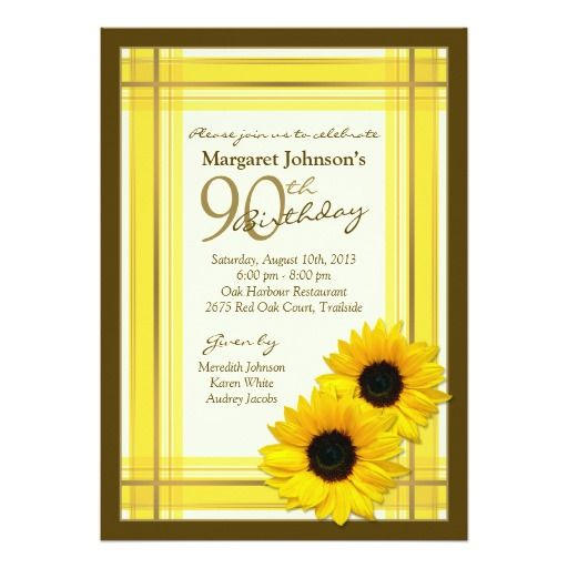 90th birthday invitation sunflower plaid country in 2018