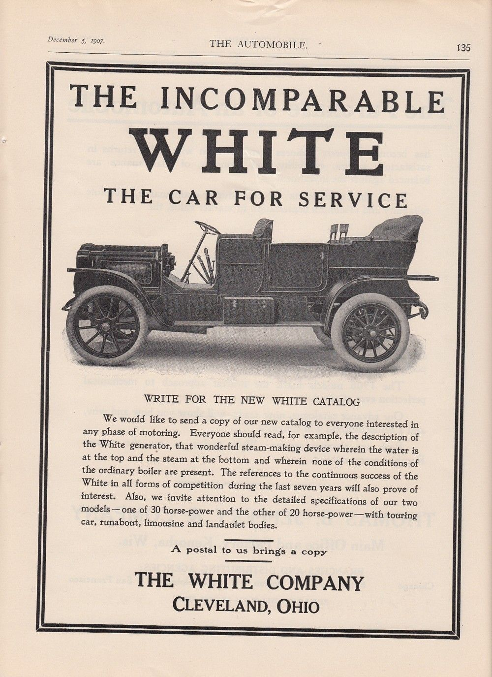 1907 The White Company Cleveland Oh Ad White Car The Car for ...