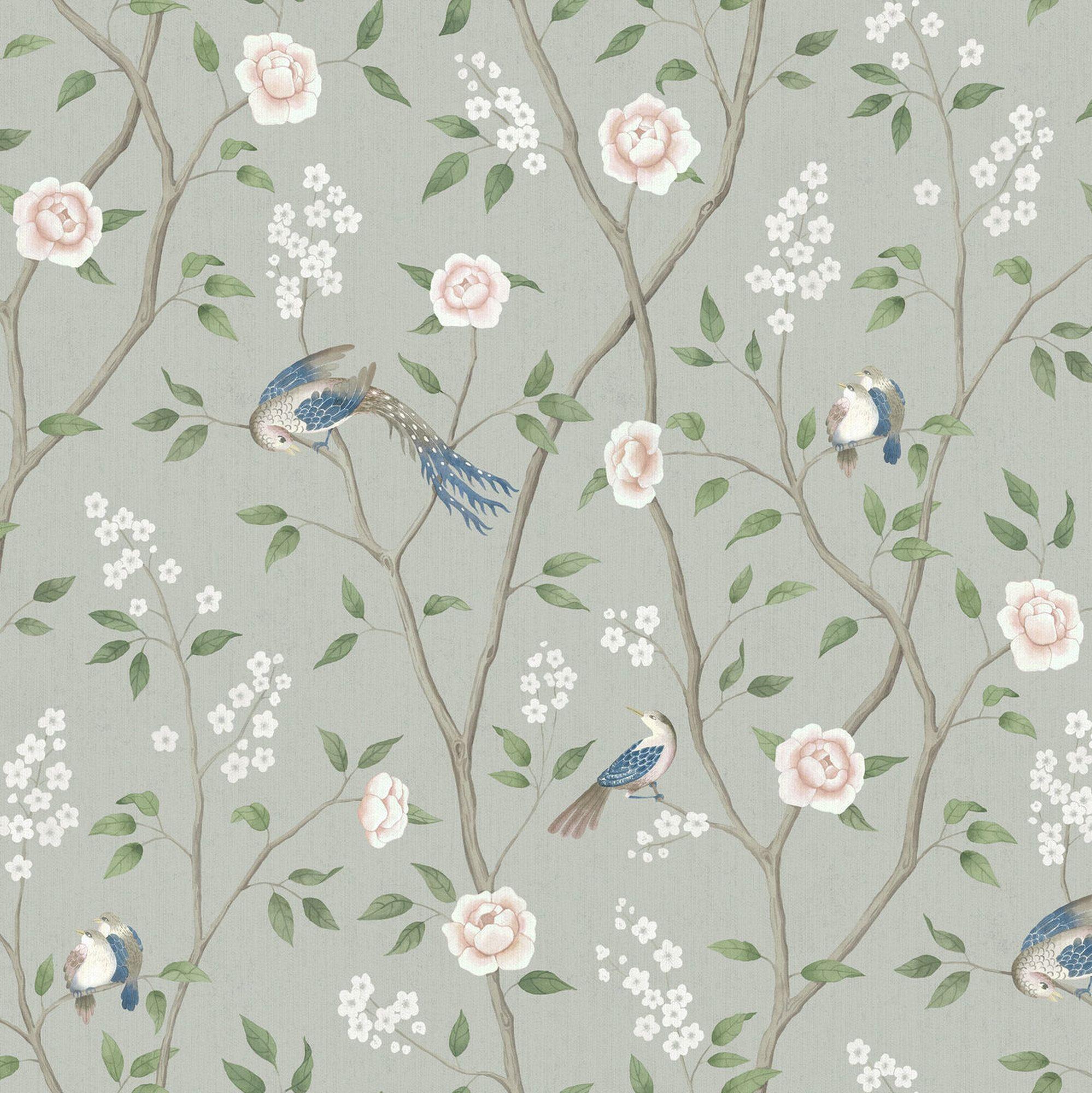Paradise Birds Sage Green Bird Wallpaper Chinese Wall Art Wallpaper