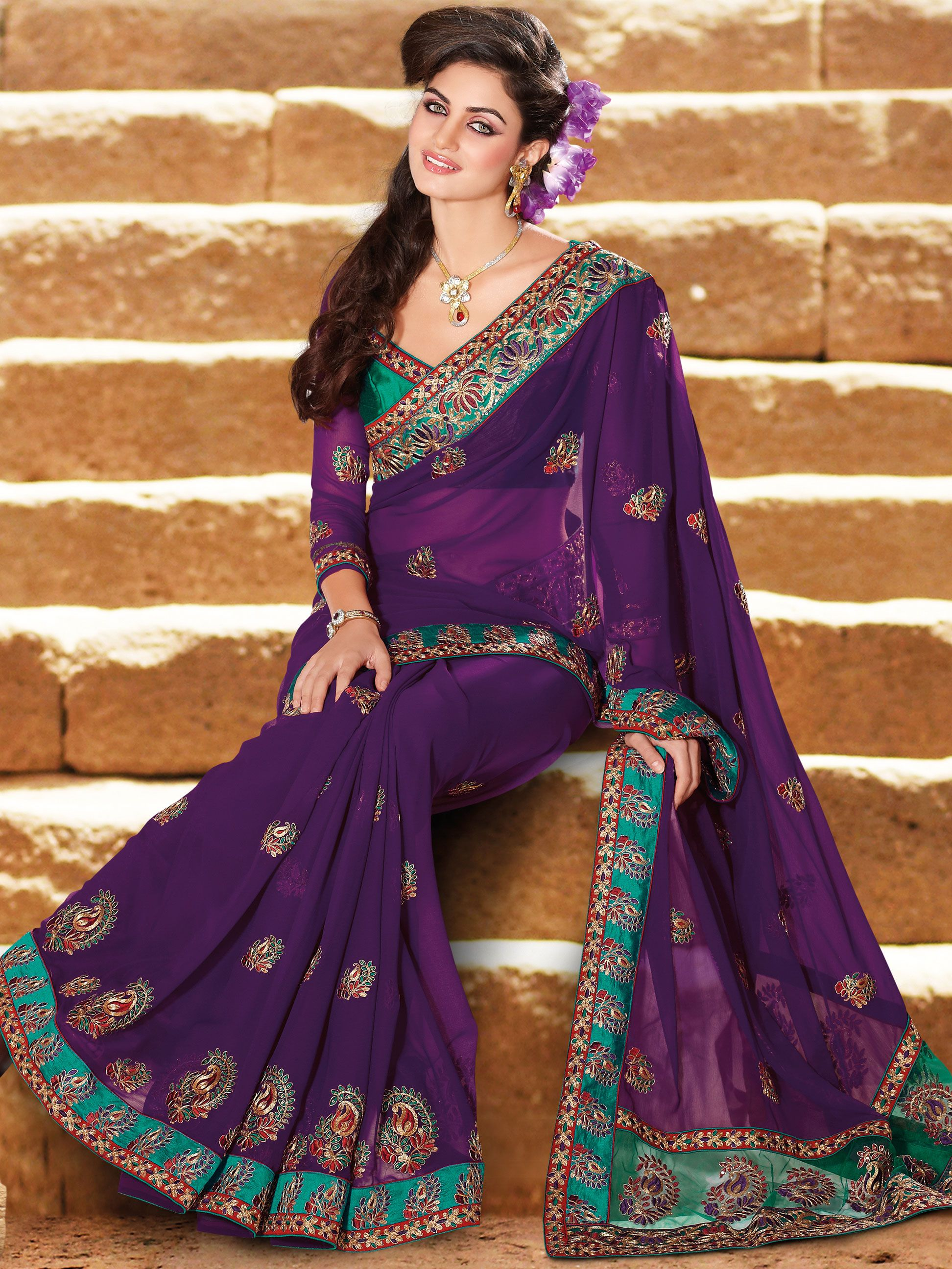 Dark #Purple Faux Chiffon #Saree with Blouse Online Shopping ...