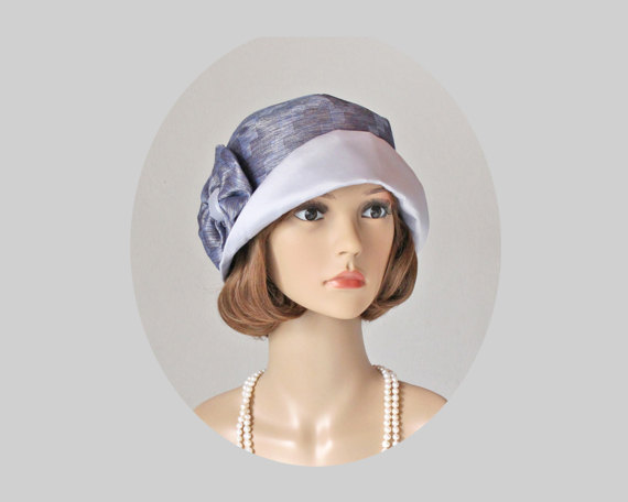 Grey and blue cloche hat, 1920s flapper hat, blue Great Gatsby hat ...