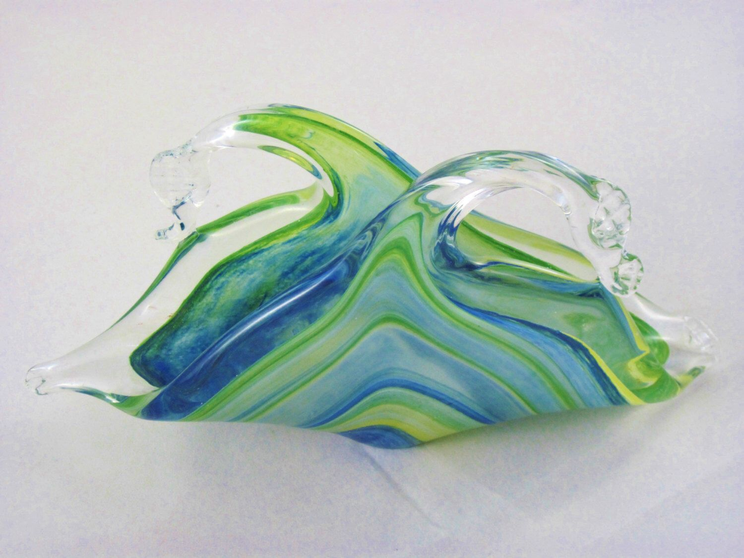 AMAZING Vintage Murano Italy Hand-Blown Glass Ashtray Collectible Art Glass Display Piece Work of Art Swirls of Glass Colors Unique Gorgeous