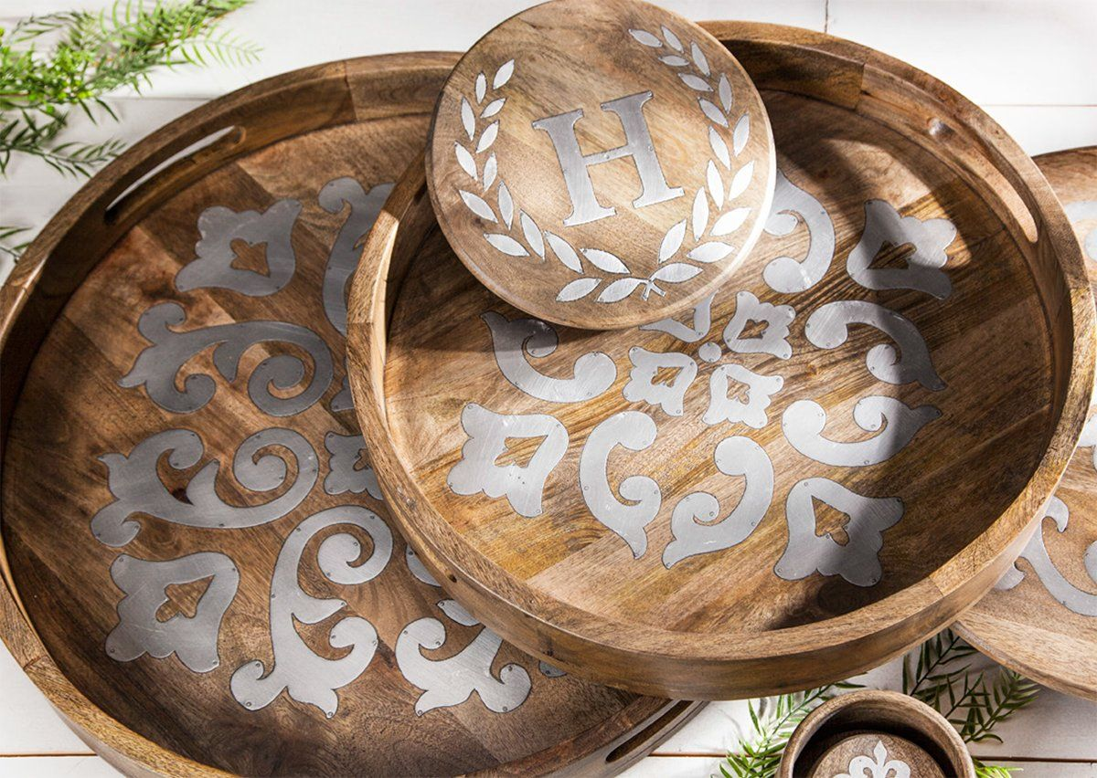 gg collection heritage wood u0026 metal inlay trays u0026 monogram trivet lazy susanbar