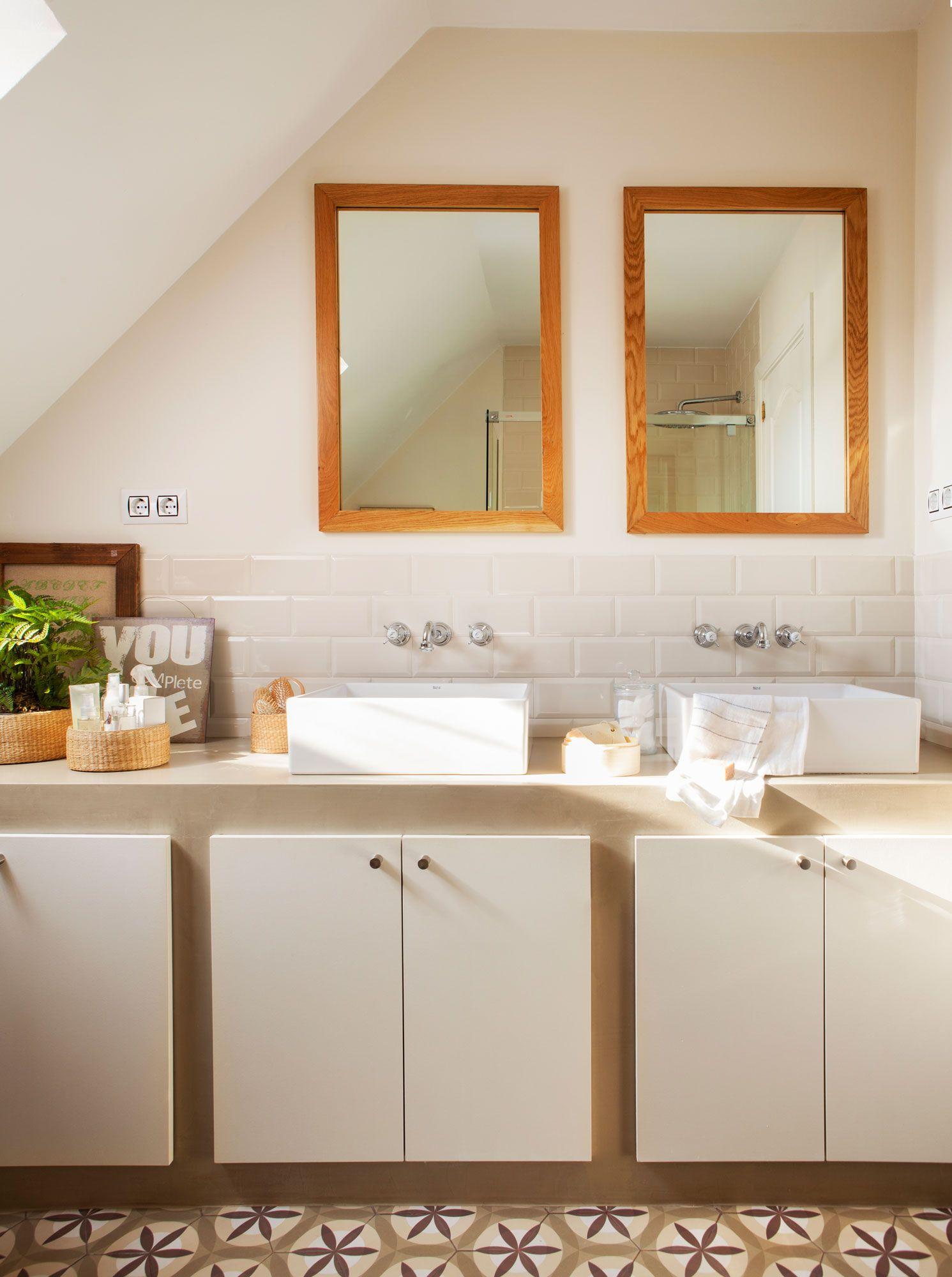 Baño para dos. | Espejos para baños, Mobiliario de cocina ...