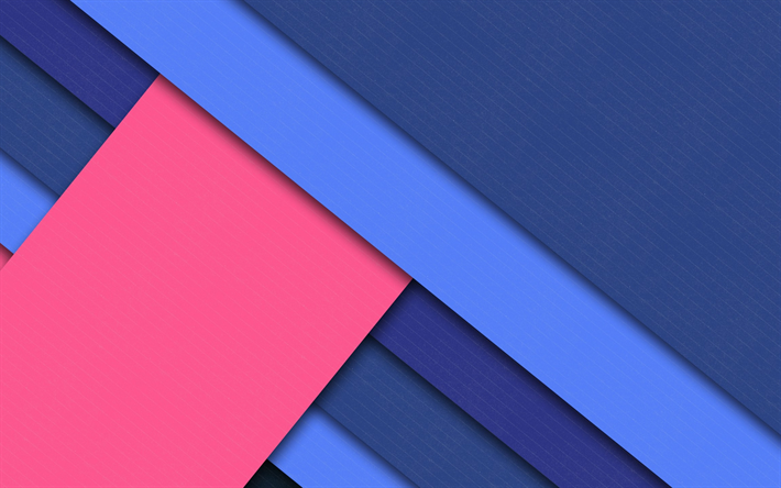 Download Wallpapers Material Design 4k Pink And Blue Lines Blue Background Android Lollipop Creative Geometric Shapes Geometry Besthqwallpapers Com Material Design Abstract Shapes Colorful Backgrounds
