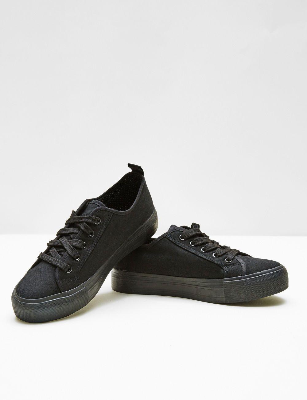 now or never Jennyfer ✓ Chaussures baskets compensées femme, noir, semelle  doublure intérieur pois, œillets noirs et lacets.
