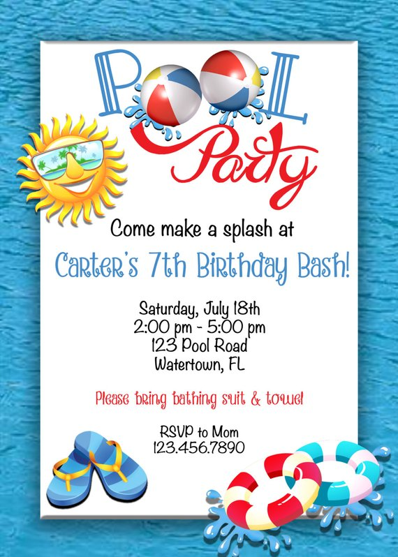 Pool Party Birthday Invitation Pool Party Invitation Beach Ball