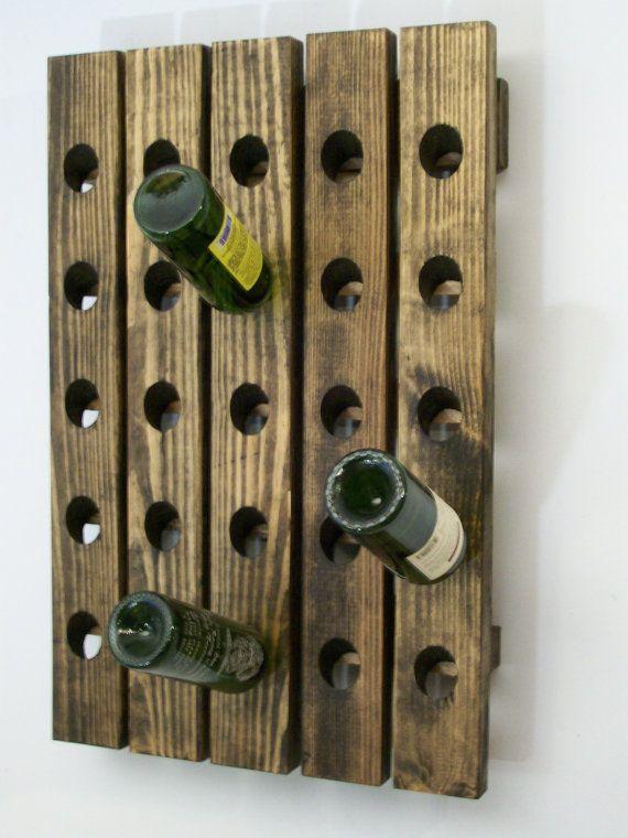 Riddling Wine Rack Handcrafted Wood Wall Hanging Wijnrek
