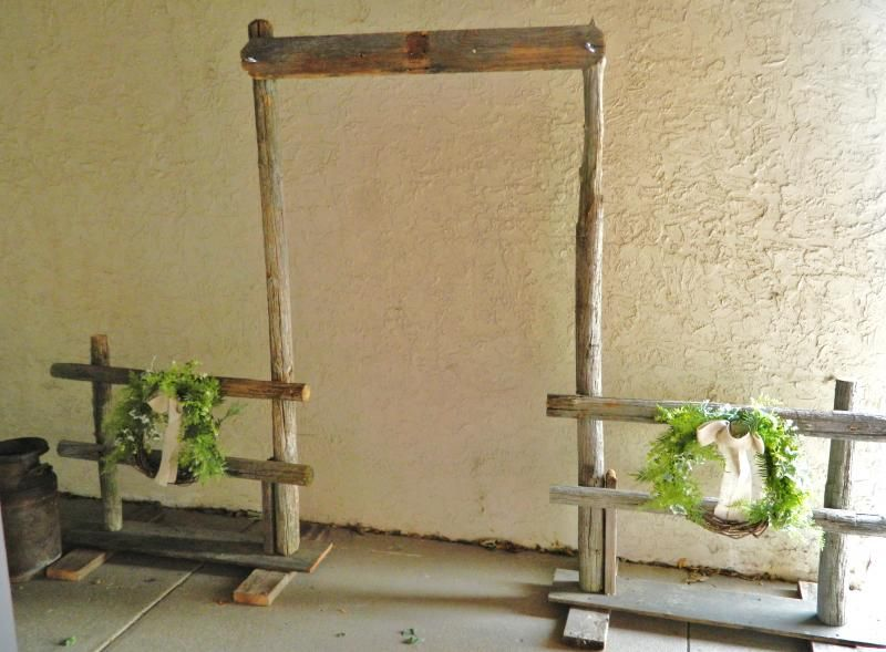 Rustic Wooden Arch Fence Set