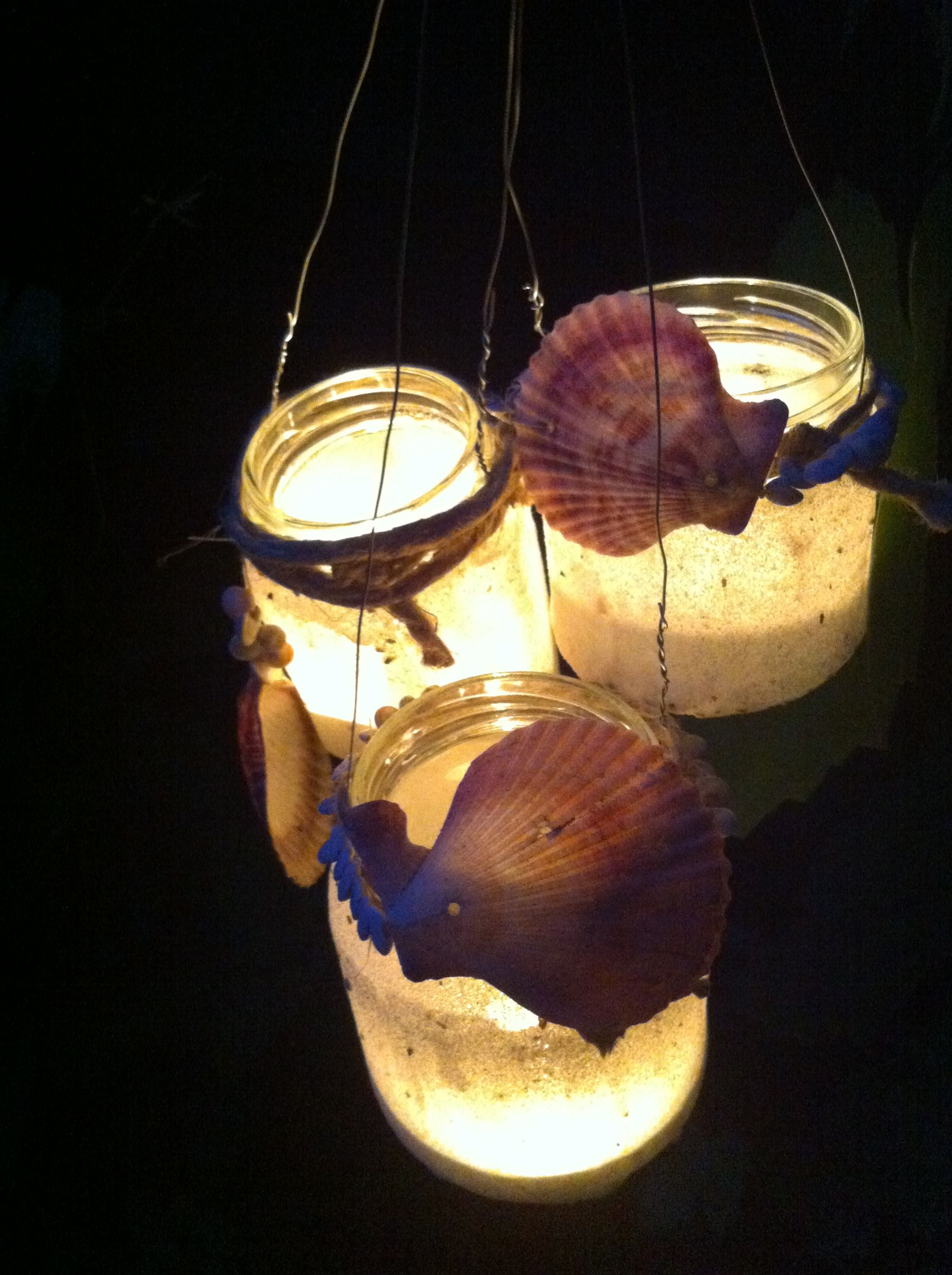 Diy Chandeliers with sand and shells.  Just use a jar!