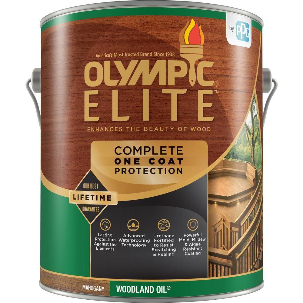 Olympic elite 1 gal mahogany woodland oil transparent