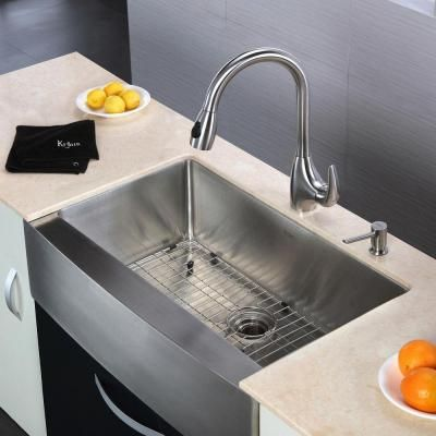 Kraus All In One Farmhouse Apron Front Stainless Steel 33x20 3 4x10 In 0 Hole Apron Front Kitchen Sink Single Bowl Kitchen Sink Stainless Steel Kitchen Faucet