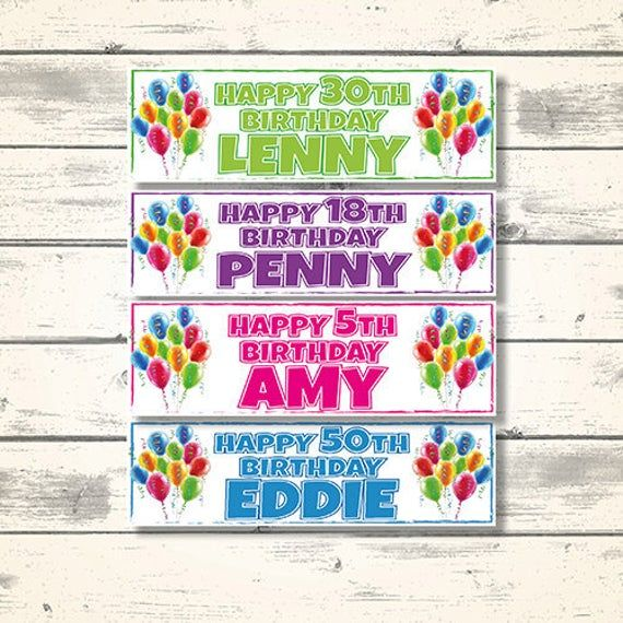 2 Personalised Balloon Birthday Banners - Available in 6 colours - Any NAME and AGE