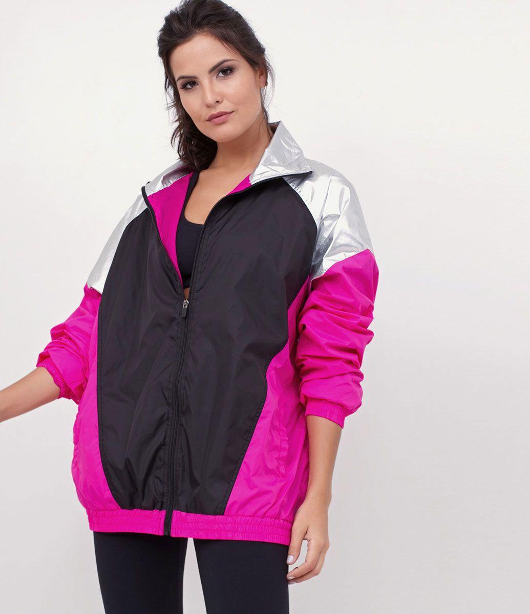Jaqueta feminina Modelo esportiva Multicores Fechamento de zíper Com bolsos  Marca  Get Over Tecido  f36c6eaa29d