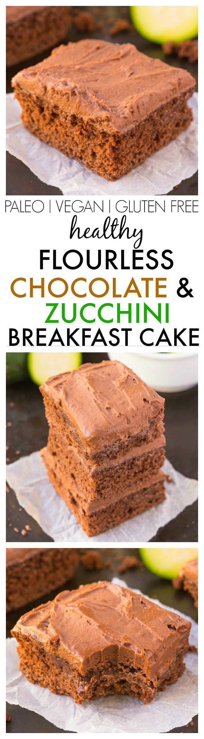 Healthy Flourless Chocolate Zucchini Breakfast Cake to keep you satisfied for hours! Tastes like a classic chocolate cake but made with NO butter, oil, flour or sugar AND an extra boost of veggies! {vegan, gluten free, paleo recipe}- thebigmansworld.com