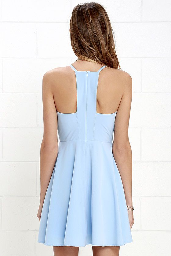 f8b2b22d Prepare to sweep all your sweethearts off their feet with the Call to  Charms Light Blue Skater Dress! Sleek woven poly shapes an apron neckline  and seamed ...