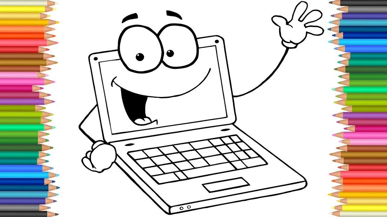 Funny Laptop Coloring Page L Coloring Markers Videos For Children