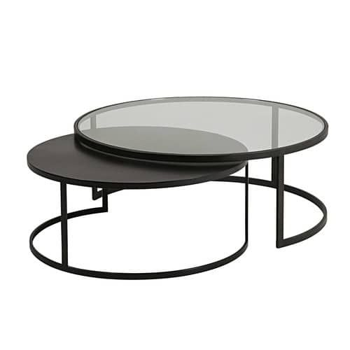 2 Tables Basses Gigognes Eclipse En Verre Trempe Et Metal Noir Maisons Du Monde Tables Gigognes Table Basse Verre Table De Salon