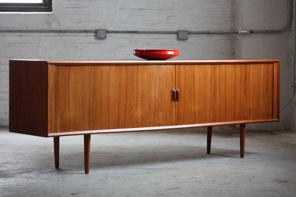 Teak Danish Credenza : Unforgettable danish mid century modern teak tambour door credenza