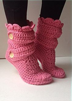 65edb46dabcd9 10 DIY Free Patterns for Crochet Slipper Boots | Knitted slippers ...