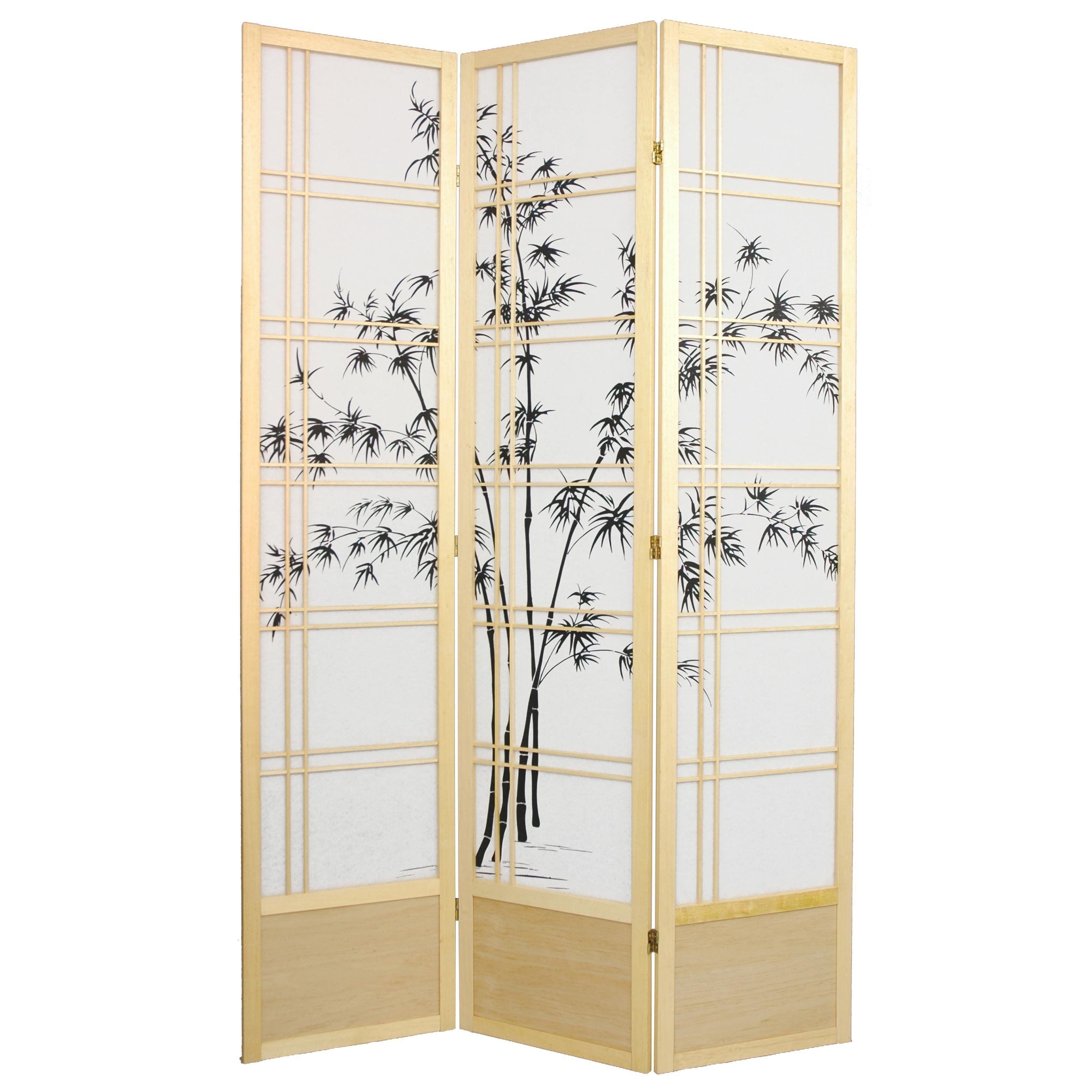 Oriental furniture bamboo tree inch shoji screen room divider