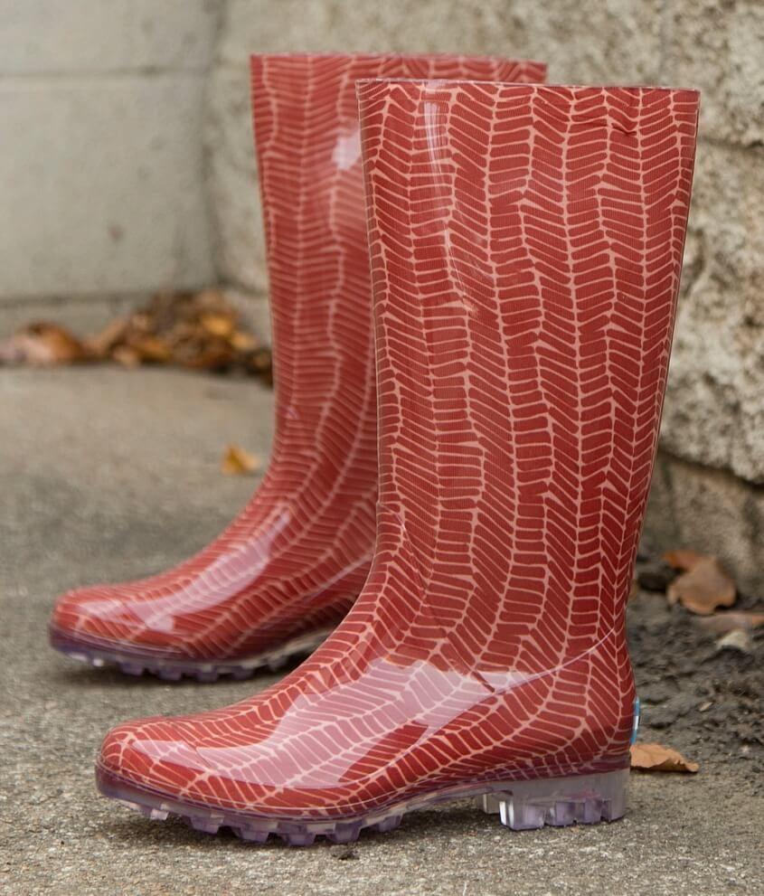 d6c9cdf8442 Womens Toms Rain Boots Cabrilla Waterproof Rubber Printed Red ...