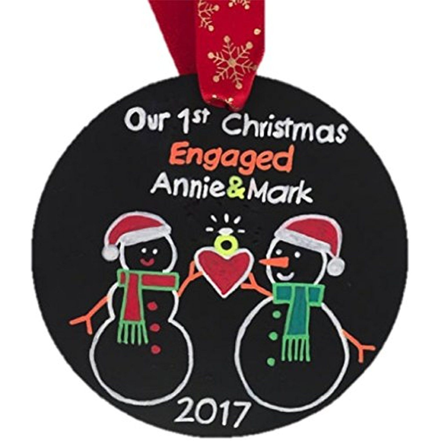 Engagement personalized christmas ornament engaged snowman