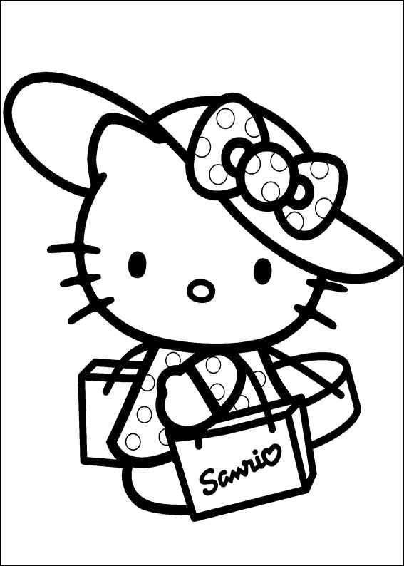 Hello Kitty Back From Shopping Coloring Pages Hello Kitty Printables Hello Kitty Colouring Pages Hello Kitty Coloring
