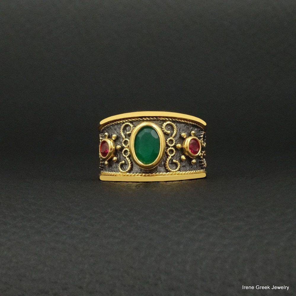 Natural Ruby Ring Byzantine Style 925 Sterling Silver 22K Gold /& Black Rhodium Plated Greek Handmade Art Luxury