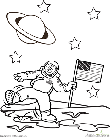 First Grade People Places Worksheets Color The Planetary Astronaut