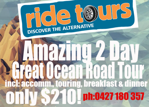 Ride is a very small, proudly independent company set up by myself to try and find a niche market for backpackers that want to do something a little different. I have been a guide for 10 years and love the Great Ocean Road but became increasingly frustrated at driving the one day tour. Tour companies love this trip because it is very popular and has high profits for them, but what they don't tell you is that it is a really long day.